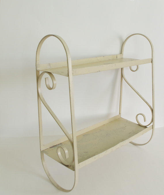 vintage metal shelf wall hanging shelf from simple treasury. Black Bedroom Furniture Sets. Home Design Ideas