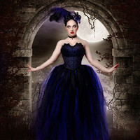 Streamer floor length tutu skirt formal royal blue black adult --You Choose Size -- Sisters of the Moon