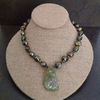 FREE SHIPPING - Pearl , Olive Green, Roman Glass, Necklace, One of a Kind, OOAK