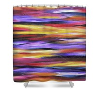 Purple Waves Shower Curtain