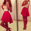 White and Pink Color Block Sleeveless Pleated Dress
