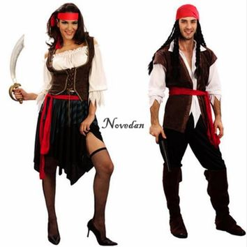 2017 New Women Men Pirate Jack Sparrow Cosplay Costume Masquerade Pirates Costumes Carnival Halloween Female Party Supplies