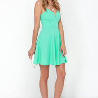 Best Place to V Mint Green Skater Dress