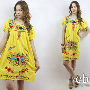 Yellow Mexican Dress Embroidered Dress Hippie Dress Hippy Dress Boho Dress Festival Dress Embroidered Mini Dress Vintage 70s Dress L