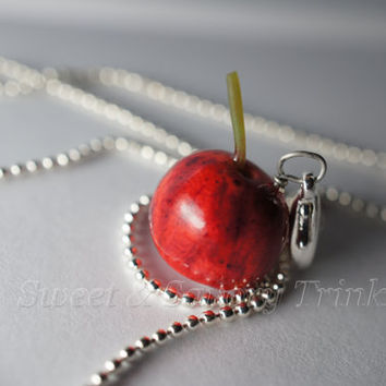 Cherry Necklace, Miniature Food Jewelry, Polymer Clay Food Necklace