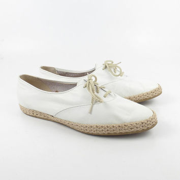 Espadrilles Oxford Shoes Vintage 1980s White Leather Bees by Beacon Women's size 7