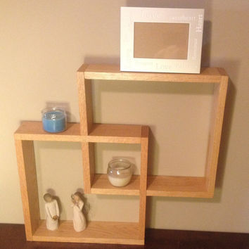 Oak shadow box knick knack wall shelf