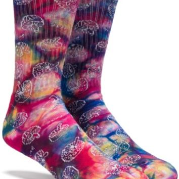 HUF Shrooms Crew Sock - multi - Free Shipping