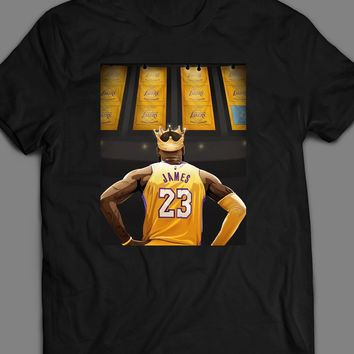 LAKERS CHAMPIONSHIP BANNERS LEBRON JAMES ART T-SHIRT