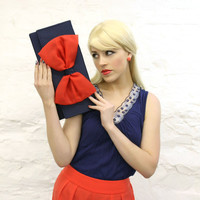 Coral Navy Organza Bow Clutch READY TO SHIP