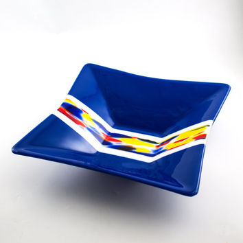 Cobalt Blue Fused Glass Bowl, Serving Dish, Square Design, Large Glass Bowl, Fruit Storage, Salad Server, Kitchen Decor, Unique Wedding Gift