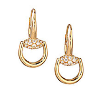 Gucci - Horsebit Diamond & 18K Yellow Gold Drop Earrings - Saks Fifth Avenue Mobile