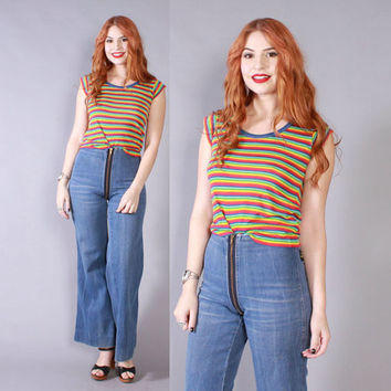 Vintage 70s BELL BOTTOMS / 1970s High Waist Broken-In Zip Around Fitted Jeans XS