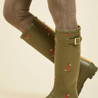 Splash the Time Rain Boot in Dapper Foxes | Mod Retro Vintage Boots | ModCloth.com