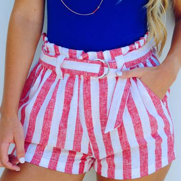 Get Patriotic Shorts: Red/White