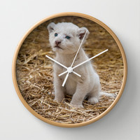 WHITE LION CUB Wall Clock by catspaws