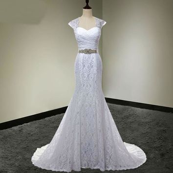 Bridal Gown White Mermaid Lace Wedding Dress Cap Sleeves Detachable With Sash