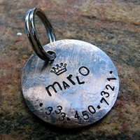Marlo Custom Pet ID Tag in Weathered Copper by theCopperPoppy