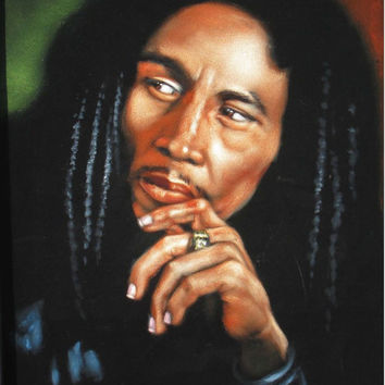 ON SALE Bob marley music legend black velvet oil painting handpainted signed art
