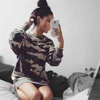 Round-neck Hot Sale Cotton Long Sleeve Camouflage Women's Fashion Hoodies [8858251398]