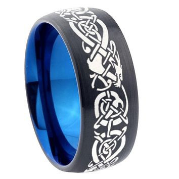 8mm Celtic Dragon Dome Tungsten Carbide Blue Wedding Band Mens