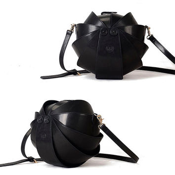 Black Leather Cross Body Bag-Large Round Shoulder bag for women- Original Stylish Purse Beetle Bag-Best Quality and Free Returns Guarantee