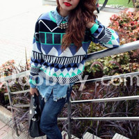 Green Long Sleeve Geometric Print Pullovers Sweater$45