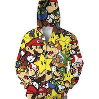 Alisister new fashion men women Super Mario jacket sweatshirt printed cartoon zip jackets hoodies Casual Unisex graphic hooded