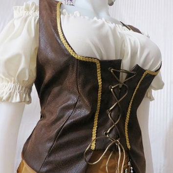 Renaissance Gypsy/Wench Suede Look Vest Made to Your Measurements