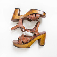 Vintage 70s Shoes - Platform Sandals Brown Braided Leather Wooden Heels Sz 9