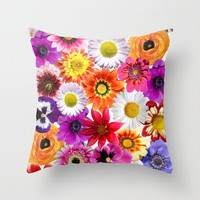 Colorful Spring Flowers Throw Pillow by Smyrna