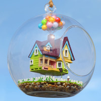 DIY Glass Ball Doll House Model Building Kits Wooden Mini Handmade Miniature Dollhouse Toy Birthday Gift -Flying Cabin Destiny