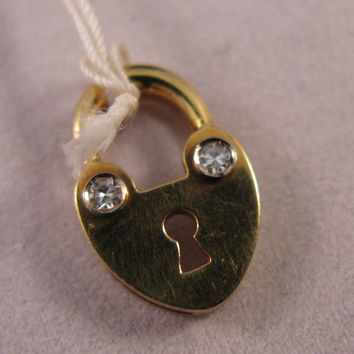 18k Yellow Gold Padlock with Diamonds Pendant - Free 9k Gold Chain - Valentine's Day