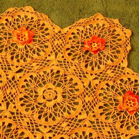 3D Flower Lace Table Topper - Orange Yellow Flowers on Tan Lace - Fall or Autumn Table Topper - Fall Decor - Autumn Decor - Earthy Decor