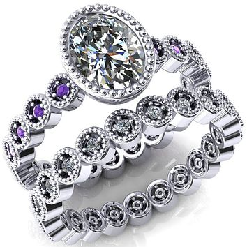 Borea Oval Moissanite Full Bezel Milgrain Amethyst Accent Full Eternity Ring