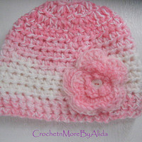 BABY Girl Hat, Crochet FLOWER Hat, Crochet Baby Hat, PINK Baby Beanie, Photography Prop, Hat with Flower, Baby Shower Gift, Ready to ship