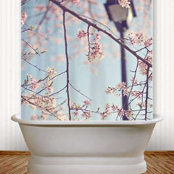 Walk With Me - Cherry Blossom Shower Curtain Cherry Blossom, Spring, Washington, D.C., Romantic, Blue, Sky, pink, cottage, decor, art