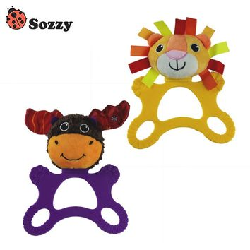 Sozzy Baby Hand Rattle Teether Toy 20cm Animal Lion Cow Soft Stuffed Plush Toy 0M+ Colorful Blue Yellow Big