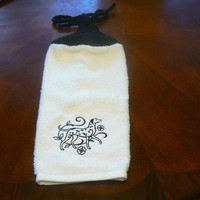 Embroidered Black Dalmatian Hanging Dish Towel With Hand Knitted Topper and Ties