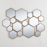 Brass Metal Hexagon Mirror Panel