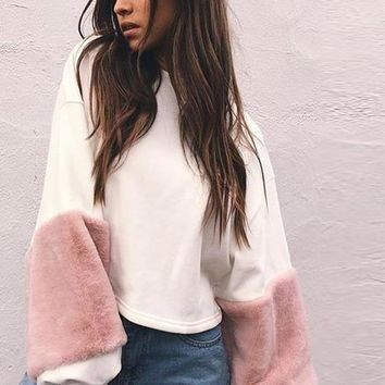 Casual white sweatshirt women jumper Fashion patchwork long sleeve pullover Spring faux fur hoodies tops