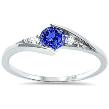 .925 Sterling Silver Blue Sapphire Ring Ladies and Kids Size 3-10 Birthstone Solitaire Midi Thumb