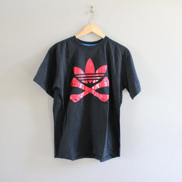 Vintage 90s Adidas T-shirt Red Trefoil Big Logo Bone Skeleton Black Cotton Tee 3 Stripes Baggy Slouchy hipster 90s Size XL #T145A