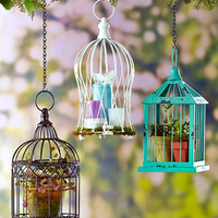 Decorative Metal Birdcage Planter Candle Holder Hanging White Turquoise Bronze