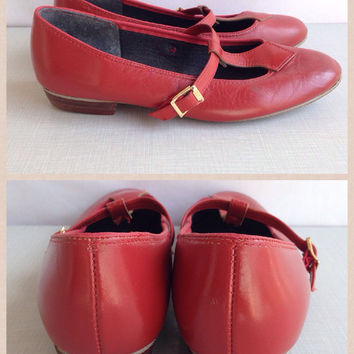 Vintage 1960s 1970s Red Leather Mary Jane Dance Flats by Barbette's Dancewear 60s  Mod Leather Cutout Sandals Size 7W