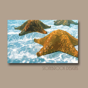 Starfish Wall Art CANVAS Abstract Painting Coastal Nautical Shore Ocean Artwork Water Waves Large Image Wrap Home Decor Free Shipping