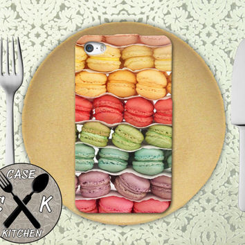 Macaron French Cookie Macaroon Rainbow Colored Tumblr Rubber Tough Case For iPhone 4/4s and iPhone 5 and 5s and 5c and iPhone 6 and 6 Plus +