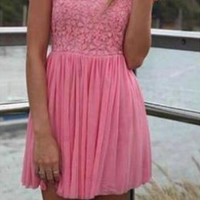 Pink Lace Jewel Short Sleeves Backless Chiffon Homecoming Dress,Short Prom Dress