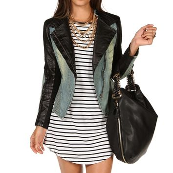 Faux Leather Denim Jacket