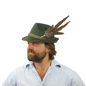 Green Tirol Fedora Felt Hat with Deluxe Feather